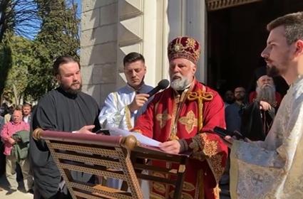 Besjeda Ep. Grigorija na Božanstvenoj liturgiji uz odar Episkopa Atanasija